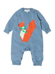 Hazel Squirrel Intarsia Playsuit by Bonnie Baby at Gilt