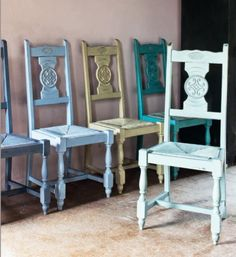 French Chairs painted in Chalk Paint, from the back Annie Sloan Provence, Versailles, Louis Blue, Chateau Grey and Duck Egg Blue from Colour Recipes, published by Cico Books by Annie Sloan, with photos by Christopher Drake.