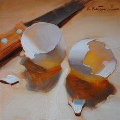 "Daily Paintworks - ""Split Shells"" - Original Fine Art for Sale - © Elena Katsyura Still Life Oil Painting, Daily Painters, Egg Art, Still Life Art, Fine Art Gallery, Painting Inspiration, Painting & Drawing, Flower Art, Illustration Art"