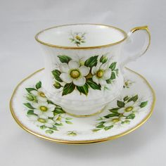 Queen's Rosina China Tea Cup and Saucer with White Flowers and Gold Trim, Vintage Bone China
