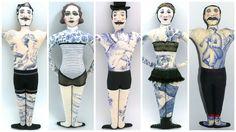 Tattooed Doll, Poupées Tatouées, Circus Doll, Personnages de cirque, Poupées peintes et dessinées aux feutres textiles, certains tatouages sont du tissu toile de Jouy, vêtements en tissus vinages, et anciens, dos en tissu à motifs - Un Radis m'a dit - Boutique https://www.alittlemarket.com/boutique/un_radis_m_a_dit-815807.html