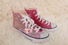 A pair of bling and bedazzled sneakers to bling and shine your way. Definitely caught a lot of attention.  Material: Canvas Brand of Shoes: Converse Design: Covered with Crystals Color of Crystal: Half in Pink, another half in Fuschia (OPTIONAL TO PICK OTHER COLORS) Crystal: Czech crystal (OPTIONAL, CAN PICK SWAROVSKI with extra charge)