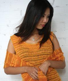 Wool Dress,  Knitted  Dress, Matching Shawl, Lace shawl, Tangerine, Mohair, Merino, Silk Dress