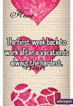 The first week back to work after a vacation is always the hardest ...