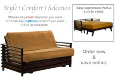 Orion Wallhugger Futon Frame Black Walnut