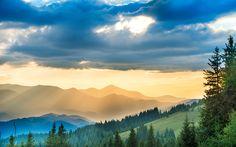 Télécharger fonds d'écran Les carpates, les montagnes, coucher de soleil, nuages, Ukraine