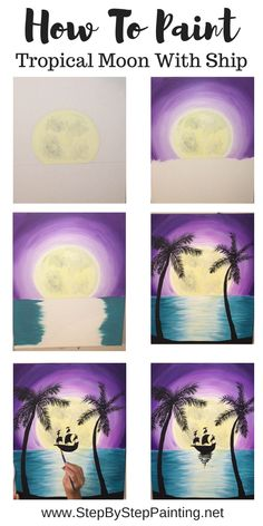 Learn to paint a tropical moon over an ocean with silhouette palm trees and a silhouette ship. Step by step tutorial for beginner painters. Easy Canvas Art, Simple Canvas Paintings, Easy Canvas Painting, Diy Painting, Painting & Drawing, Moon Painting, Matte Painting, Acrylic Canvas, Painting Lessons