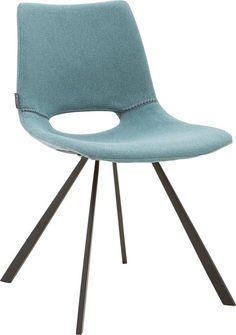 Eetkamerstoel Yell bied je Italiaans design én comfort! Met zijn zwarte metalen poot en fijn geweven turquoise stof is de…