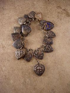 Antique 18 PUFFY Heart Charm bracelet Sterling charms sweetheart...