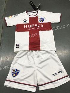 38fd8d427 2018-19 SD Huesca Away White Youth-Kid Soccer Uniform