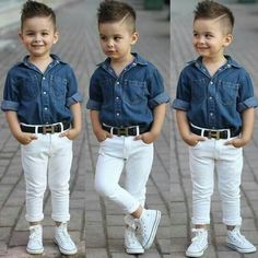 white pants with denim short sleeves
