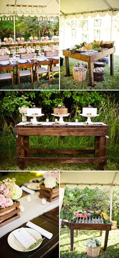I love the cake table & flower box centerpieces :)