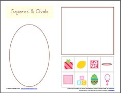4-page set of Shape Sorting cut & paste printables for Preschool and Early K