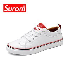 SUROM New Men s Casual Shoes White Color Krasovki Flats Man Round Toe  Brogue Shoes Leather Fashion 039c88eb09f1