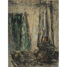 iArremate - MANABU MABE, Natureza morta com lampião, Óleo sobre tela, 61 x 46 cm, dec 50, Ex coleção SatoruM - Leilão de novembro