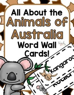 Australian Animal word wall cards for your classroom!  Great for your Animals Unit or Australia Unit!