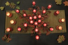 From the #PartyLiteCanada Studio:   Falling Leaves Centerpieces, Joy of Autumn Scented Candle Trio