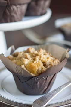 Healthier Cinnamon Oat Streusel Muffins - made with coconut oil and Greek yogurt topped with a thick layer of buttery streusel topping!