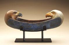 Hib Sabin - Eagle Hawk Spirit Canoe - Juniper Wood Sculpture