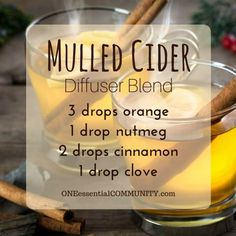 mulled cider diffuser blend PLUS recipes for 20 fall diffuser blends -- easy…