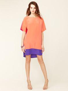 Silk Colorblock Shirt Tail Shift by Donna Morgan on Gilt.com