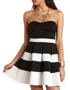 strapless color block skater dress