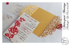 Lasercut wedding invitation - Faire-part Mariage -Modèle arabesque - La Rose Eternelle en rouge et doré. Faire-part ciselé, découpe façon laser Lasercut, Arabesque, Creations, Invitation, Tableware, Laser Cutting, Red, Dinnerware, Dishes