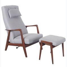 Vintage Reclining Lounge Chair and Ottoman by Folke Ohlsson for Dux | From a unique collection of antique and modern lounge chairs at https://www.1stdibs.com/furniture/seating/lounge-chairs/