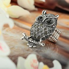 animal jewelry | fashion, animal, jewelry, owl ring, owl stretch ring - image #599562 ...