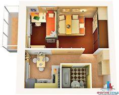 дизайн мебель для однокомнатной квартиры хрущевка фото