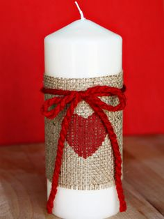Burlap Candle Decoration for Valentine's Day from @Stephanie Close Ellison Vanessa Craft