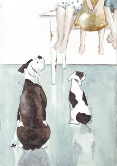 Original watercolor painting two boxer dogs looking at by HelgaMcL http://etsy.me/UqJ696 $20.00