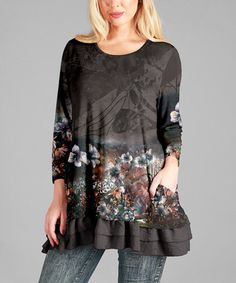Loving this Gray & Black Floral Ruffle-Hem Swing Tunic - Plus on #zulily! #zulilyfinds