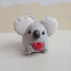 Polymer clay koala animal sculpture by TrufflesAndTrinkets on Etsy adorable handmade polymer clay koala bear sculpture home décor Valentines day gift collectible animal figure