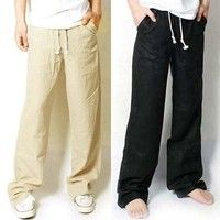 Wish | Men's fashion beach pants, linen pants, casual pants