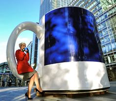 The world's biggest cup of coffee was unveiled to commuters in London. The colossal blue cup can hold the equivalent of 216,000 espressos. (Guinness World Record)