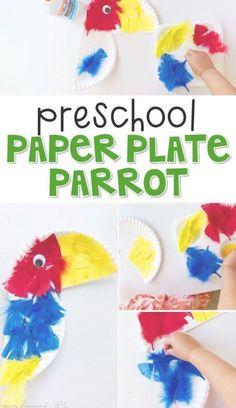 Preschool: Rainforest Crafts for Kids - parrot paper plate preschool. Cute idea for pirate th Rainforest Preschool, Rainforest Crafts, Rainforest Theme, Rainforest Classroom, Amazon Rainforest, Pirate Preschool, Pirate Activities, Preschool Crafts, Preschool Jungle