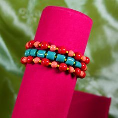 Bright Swarovski Crystal Pearl Memory Wire Bracelet