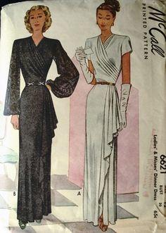 1940s BEAUTIFUL EVENING GOWN DRESS PATTERN DRAPED SURPLICE NECKLINE SIDE CASCADE DRAPE, 2 SLEEVE STYLES McCALL 6621