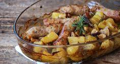 Salsiccia funghi e patate al forno     ♥