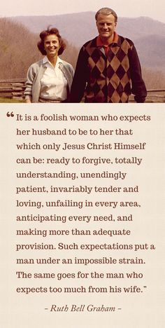 Words of wisdom about not expecting too much of a mere man.  Amen!
