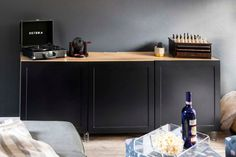 Bringing The Movie Theater Home With Your Family In Mind (It's A REVEAL Y'all!) - Emily Henderson #tvroom #movieroom #homedecor Living Room Furniture, Living Room Decor, At Home Movie Theater, Paint Colors For Living Room, Decorating Small Spaces, Design Trends, Liquor Cabinet, Bring It On, Storage