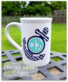 Ceramic Coffee Mug with Anchor and Circle Monogram
