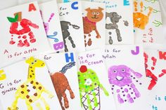 Make your own handprint alphabet flashcards with help from Shauna of These flashcards are a great art project for kids and toddlers. They help kids learn their ABC's while also encouraging creativity. Abc Crafts, Alphabet Crafts, Alphabet Art, Preschool Crafts, Flashcards For Toddlers, Alphabet For Toddlers, Painting For Kids, Art For Kids, Crafts For Kids