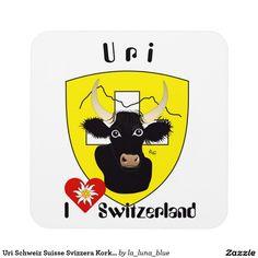Uri Schweiz Suisse Svizzera Kork-Untersetzer Cocktail Untersetzer