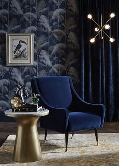 Wonderful world of decorator Ali Attenborough #interior #design #home #decor #Idea #inspiration #color #light #cozy #room #style #dark #wallpaper #chair #blue