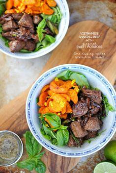 Vietnamese Shaking Beef with Gingered Sweet Potatoes recipe (via thepigandquill.com) // #grainfree #paleo
