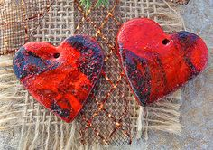 Cherry Red Black Heart Beads Polymer Clay by TinkerBeadDesigns