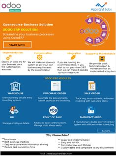 Aspirant Labs helps you to connect systems, customers, and departments. #OdooERP is the powerful #ERPsolution for #SME's. You can make it yours within the minimum cost. #ERP is one stop solution for all your enterprise internal and external challenges!!! We have been helping you to achieve your goals!!! Reach us here!!!