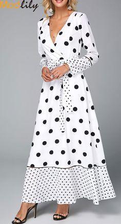 Polka Dot V Neck Belted White Maxi Dress On Sale At Modlily. White Maxi Dresses, Tight Dresses, Spring Dresses, Women's Dresses, Dresses Online, Casual Dresses, Fashion Dresses, Short Sleeve Dresses, Casual Outfits